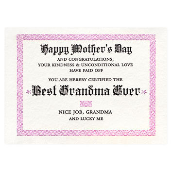 Best Grandma Certificate Mother's Day Card