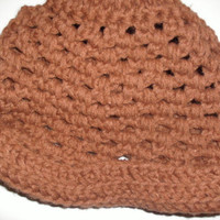 handmade crocheted Brown cuffed hat by CanadianCraftCritter