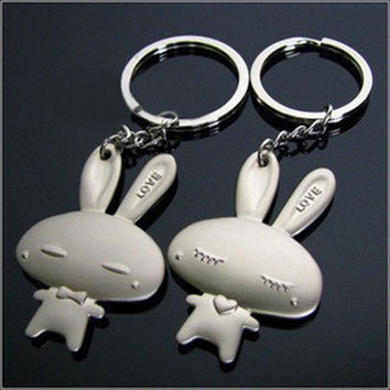 Fashion Lovers gift keychain couple Love Cute bunny  key chain One Pair Key Ring