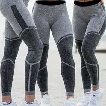 Grey Patchwork Geometric High Waisted Sports Long Legging
