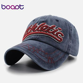 BOAPT 100% cotton letter embroidery retro snapback men's cap summer hat for women's baseball caps casual casquette brand hats