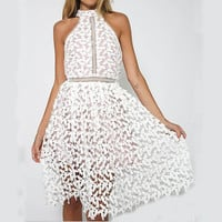 Fashion Round Neck Sleeveless Lace Dress