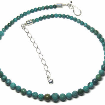 Estate Sterling Graduated Turquoise Bead Necklace