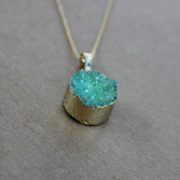 Green Druzy Necklace, Geode Necklace, Green Necklace, Boho Chic Necklace, Bohemian Jewelry
