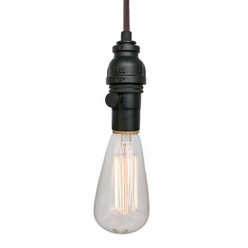 Industrial Rustic Pipe Pendant Light – Brown Cord