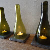 Tea Light Candle Holders Hurricane Lamps Lanterns made from Upcycled Wine Bottles Large Quantities Available