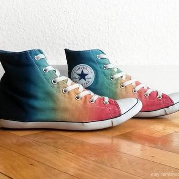 Multi-colour ombre Converse, dip dye upcycled vintage sneakers, Converse All Star Lite