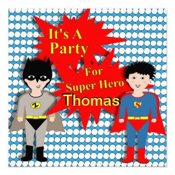Cute Boys Superhero Themed Party Invitation from Zazzle.com