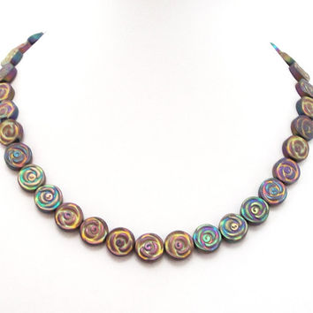 Hematite Necklace, Gold Rainbow Carved Flower Hematite Titanium Beads Necklace