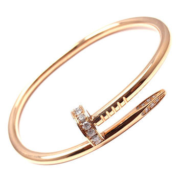 Cartier Juste un Clou Diamond Rose Gold Nail Bangle Bracelet