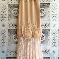tan dark blush & ballerina pink lace boho maxi wedding party dress Mermaid Miss K