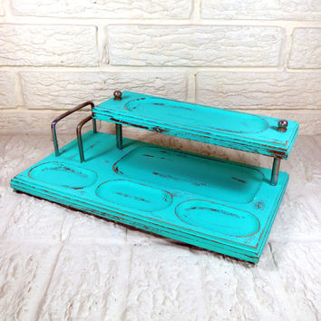 Turquoise Teal Green Vanity Tray Trinket Jewelry Holder