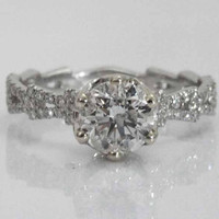 Diamond Engagement Ring Six Prongs 1.20 ct in 18K White Gold with 60 side Diamonds