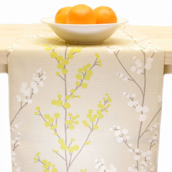 Spring Table Runner, Floral  Beige, White, Yellow Table Linens  Vines 60 inch, 72 inch, 96 inch, 108 inch, 120 inch
