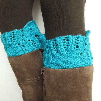 Lace boot cuffs turquoise leg warmers hand knitted boot toppers boho gift under 20 Choose your color Ready to Ship