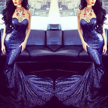 Portia & Scarlett Belladonna sequined gown (navy)