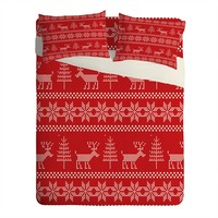 Natt Christmas Knitting Deer Sheet Set Lightweight