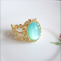 Turquoise Ring Seafoam Green Blue Ring Gold Ring Aqua Ring Mermaid Lake Pacific Ocean Winter Nutcracker Romance Aqua Luna