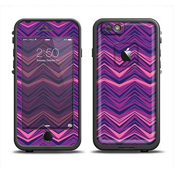 The Purple and Pink Overlapping Chevron V3 Apple iPhone 6 LifeProof Fre Case Skin Set