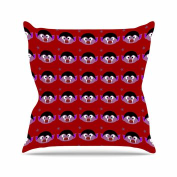 "bruxamagica ""Cute Dracula Red"" Red Purple Digital Illustration Holiday Kids Throw Pillow"