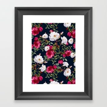 Vintage Roses on Darkblue Framed Art Print by VS Fashion Studio