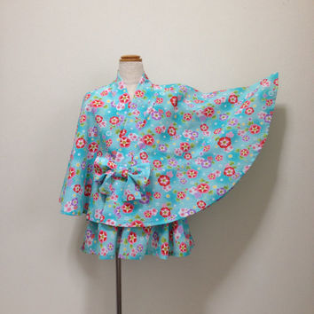 Kawaii kids kimono poncho and mini skirt set for 130 cm ( 4 ft 3 inches ) tall girls :  Japanese fashion , pastel blue , hime , lolita