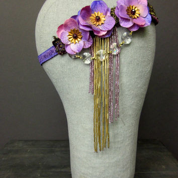 Fairy Ring - Handmade Purple Velvet Flapper Headband with Chandelier Crystals - 1920s Headpiece - Wedding Flower Crown - Circus Costume