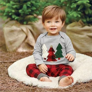 Baby Boy Clothes Tree Set Baby Boy Girls Christmas Outfits Tops Plaid Pants 2pcs Clothes Set
