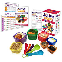 Active Kitchen 7-Piece Portion Control Containers with Complete Guide, 21 Day PDF Planner, Recipe  and Measuring Spoons