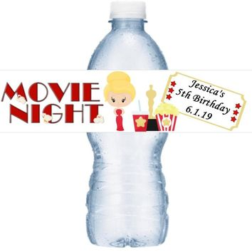 21 Personalized Movie Oscar Night Birthday Party Water Labels Blonde Hair