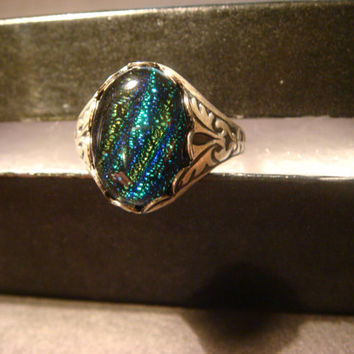 Victorian Style Dichroic Glass Antique Silver Ring- Adjustable (1013)