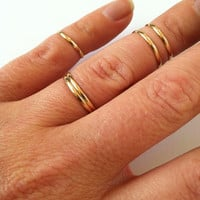 5 Layering Stacking and Mid Knuckle Rings Gold by GLAMROCKSdesigns