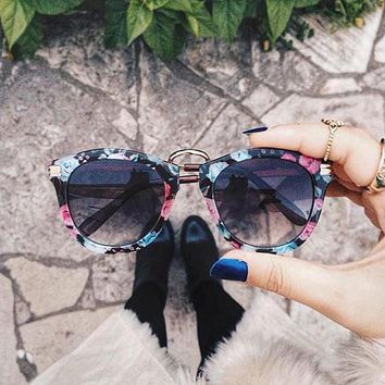 Womens Fashion Floral Print Round Sunglasses