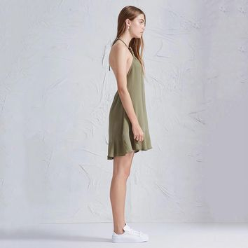 Summer western style fashion sexy slim solid color backless green woman's Casual halter dress