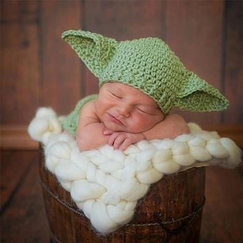 2pcs Stars War Master Yoda Cartoon ears hat+pants Clothes baby set Toddlers handmade newborn infant photography props