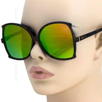 NEW Large Oversize Square Sunglasses Yellow Green Mirror Retro butterfly Frame