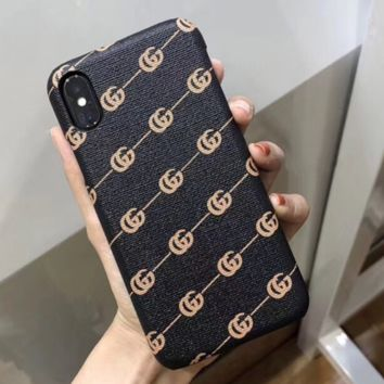 GUCCI Fashion new protective cover more letters phone case iphone mobile phone hard shell Black