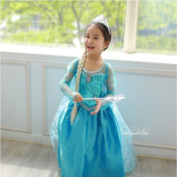 NEW 2017 Elsa Dresses For Girls Cosplay Party Anna Dress Snow Queen Beautiful Chiffon Baby Girls Fantasia Dress Kids Costume