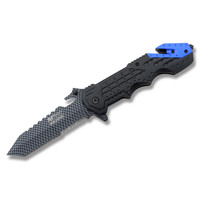 MTech® Ballistic™ Rescue Tanto Linerlock - Blue Accent with Carbon Fiber Graphic