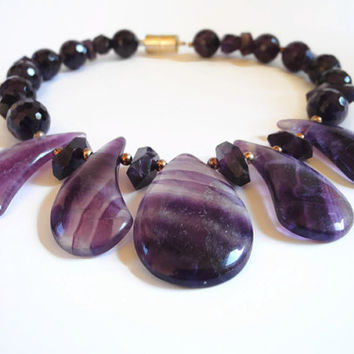 Purple amethyst necklace, handmade semi precious gemstone beaded amethyst choker necklace with silver, magnetic clasp