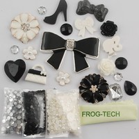 Frog-tech DIY for cellphone ,for HTC Iphone 4/4s Iphone 5g/ I9300 S3/ Samsung Note 2 note 3 HTC 3D Bling bow bowknot love rose Cell Phone Case Resin crystal diamond Flat back Kawaii Cabochons Deco Kit / Set ,cellphone diy ,merry christmas gift ,xmas