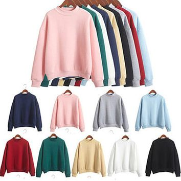 Turtleneck short section kawaii hoodies lovely pink kpop tracksuit loose Ulzzang solid candy colors thicken women sweatshirt