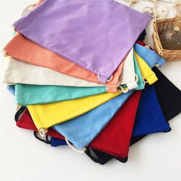 Factory direct sale cotton canvas backpack shoulders drawstring blank solid color canvas bag DIY painting bags free shipping