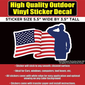 Soldier Salute Flag Vinyl Car Window Laptop Bumper Sticker Decal