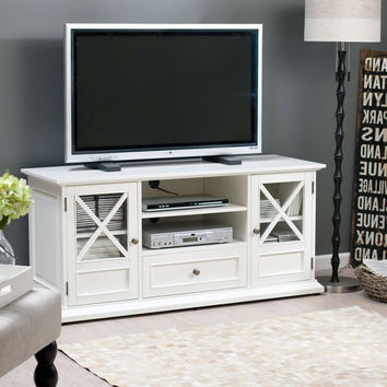 White Solid Wood 55-In. TVstand Entertainment Center with Wooden Veneer Top