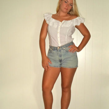 90s Off Shoulder White Ruffled Peasant Lace Button Down Sexy Summer Top