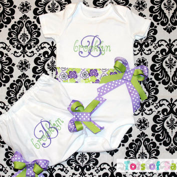 PERSONALIZED Onesuit or toddler ribbon and bow shirt with matching bloomer CUSTOM fonts and ribbon