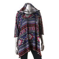 Belle du Jour Womens Pattern Hooded Poncho Top