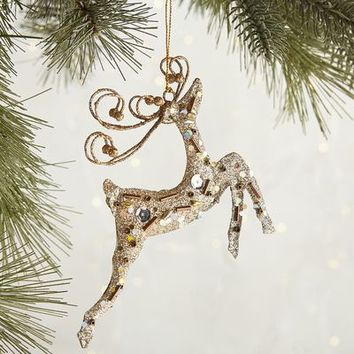 Champagne Leaping Deer Ornament