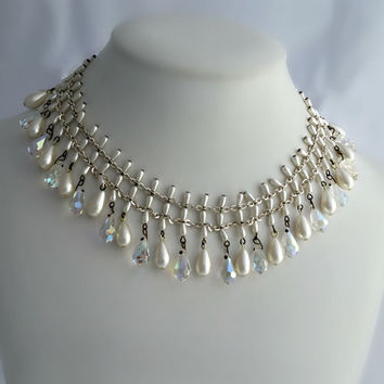 Bib Necklace - White Crystal Necklace - Victorian Style Australian Crystal and Faux Pearl Necklace - Mid Century Crystal Necklace
